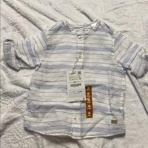 ZARA - Linen Blue Stripe